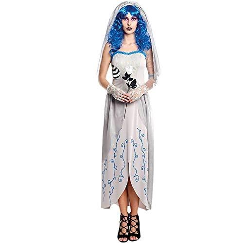 H HANSEL HOME Disfraz Novia Cadáver Blue Adulto - Mujer - Incluye Vestido + Velo + Guantes Cosplay/Carnaval/Halloween Size S