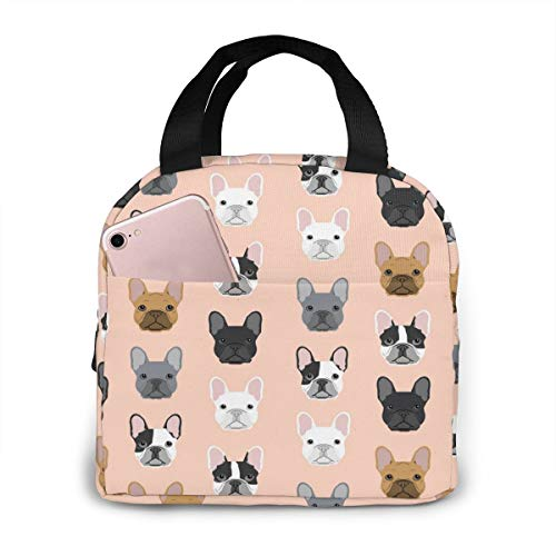 Antfeagor Portable Lunch Tote Bag Cute French Bulldog Portraits Pattern Dog Lunch Bag Insulated Cooler Thermal Reusable Bag Lunch Box Handbag Bags for Women/Picnic/Boating/Beach/Fishing/Work