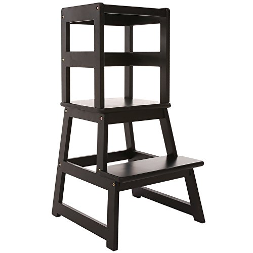 SDADI Kids Kitchen Step Stool with Safety Rail - for Toddlers 18 Months and Older, Black LT01B