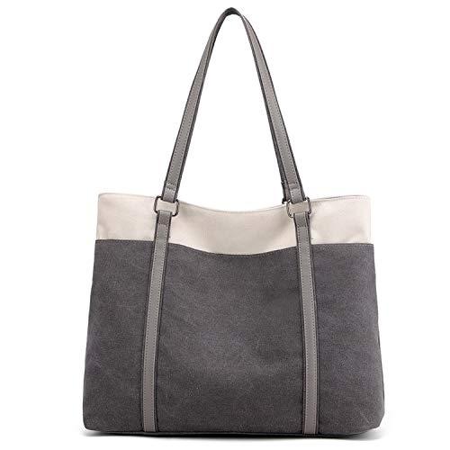 JANSBEN Damen Handtasche Schultertasche Canvas Casual Groß Tasche Shopper Elegant für Büro Schule Arbeit (Grau)
