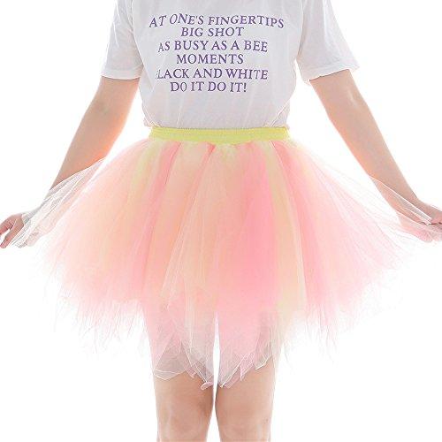 Vimoli Kleider Damen Tüllrock 50er Rockabilly Petticoat Tutu Unterrock Kurz Ballett Tanzkleid Ballkleid Abendkleid (Orange,Einheitsgröße)