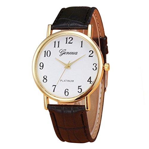 IEason,Retro Design Leather Band Analog Alloy Quartz Wrist Watch (Black)