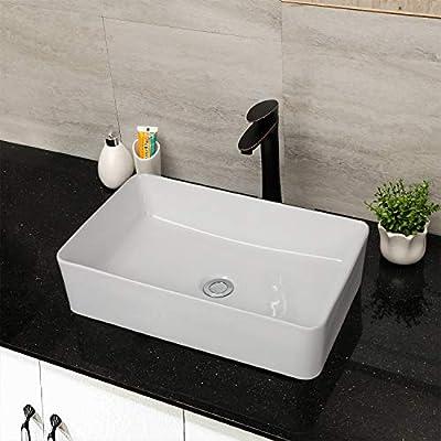 "Bathroom Vessel Sink Rectangular - Mocoloo 21""X14"" Modern Rectangle Countertop Vessel Sink White Porcelain Ceramic Lavatory Vanity Sink Above Counter Basin"