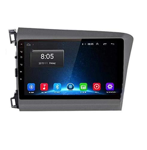 Radio de coche Android 8.1 con GPS, pantalla táctil de 9 pulgadas, para Honda Civic 2012 – 2015, con control en el volante, Bluetooth, manos libres, enlace DAB USB, MP5 SWC, 4G + WIFI2G + 32G