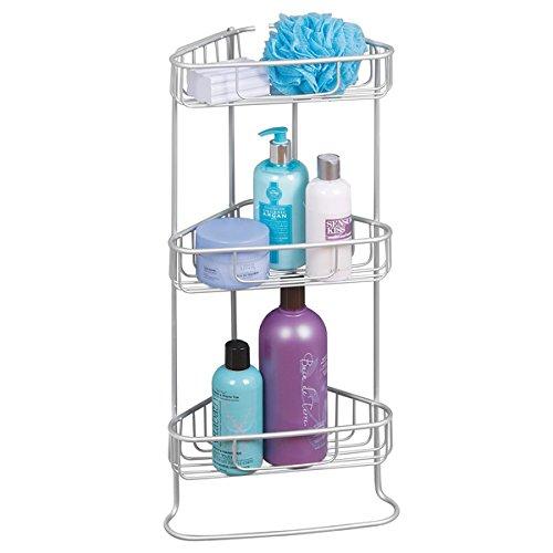 mDesign Eckregal ohne Bohren – freistehendes Badregal zur Aufbewahrung von Shampoo, Duschgel & Co. – Duschregal mit 3 Ebenen aus Aluminium - Silber