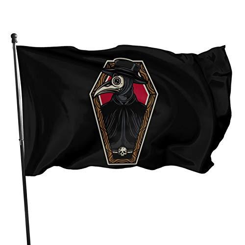 Voglawear Plague Doctor Coffin Tattoo Design 3x5ft Garden Flag, Home Flag, Outdoor Lawn Decoration Banner
