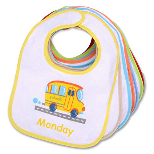 Pekitas - Confezione da 7 bavaglini per bebè, impermeabili, chiusura morbida, in cotone L-(6-24 meses) Bianco-inglese