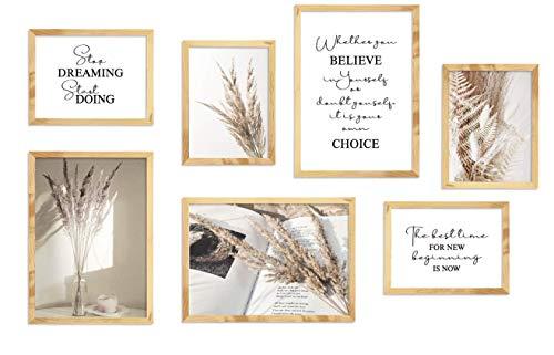 KAIRNE Set di 7 Beige Poster per Soggiorno,Piante Arte Parete,Moderno Poster set,Elegante Quadri...