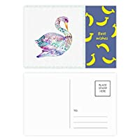カラフルな鳥の水彩画 バナナのポストカードセットサンクスカード郵送側20個