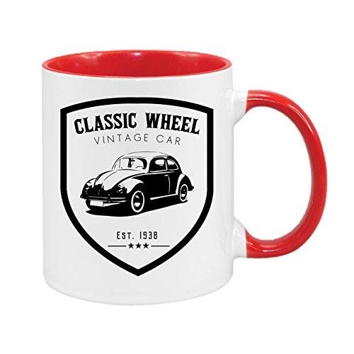 Classic Wheel - Vintage Car - Käfer - hochwertiger Keramik-Kaffeebecher - Cups by t? - Kaffeetasse - Spruchtasse - Tasse mit Spruch - Geschenk