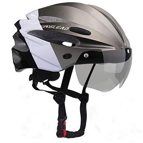 KINGLEAD Fahrradhelm mit Sicherheitslicht und Visier CE-zertifiziertem unisexgeschütztem Fahrradhelm für das Radfahren im Freien Sicherheitssuperleichter Verstellbarer Fahrradhelm (Titan Black White)