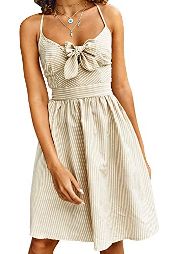 CUPSHE Women's Apricot Stripe Lace Up Back Knotted Front Sleeveless Dress, M
