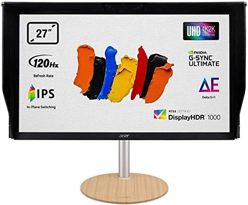 ConceptD CP7271KP Monitor 27 Zoll (69 cm Bildschirm) 4K (UHD), HDMI:60Hz, DP:120Hz(OC 144Hz), 4ms (G2G), HDMI 2.0, DP 1.4, höhenverstellbar, GSync Ultimate, HDMI VRR