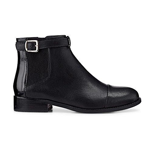 Cox Damen Chelsea Boots aus Nappa-Leder, Elegante Stiefelelette in Schwarz mit Zipper an der Innenseite Schwarz Glattleder 37