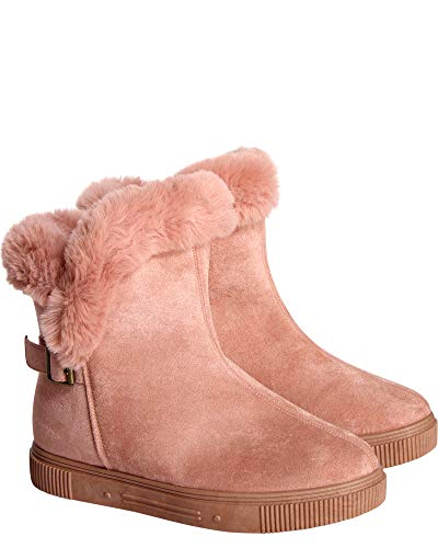 BAMBOO Womens Side Buckle Fur Bootie,Pink,10