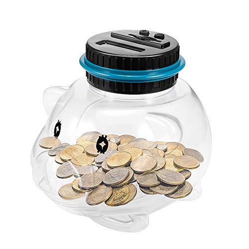 Contador Digital de Hucha, Automático Banco de Dinero Seguro Moneda para Niños y Adultos, Caja de Ahorro de Monedas para Pantalla LCD Caja de Monedas Banco de Ahorro Contenedor