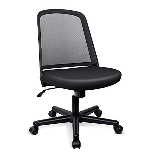 Funria Mid Back Mesh Office Chair Armless Black Swivel Ergonomic Task Office Chair with No Arms Computer Desk Chairs