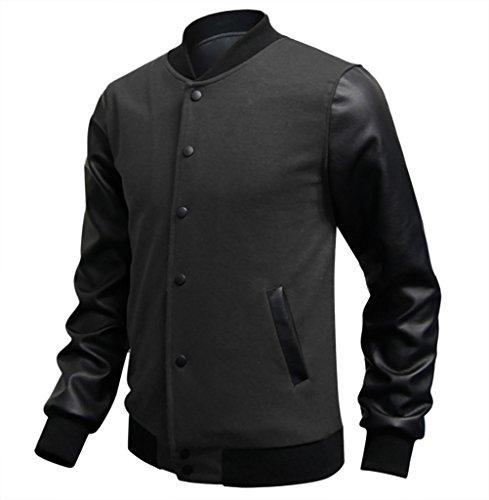 WSLCN Homme Jacket Bomber Blouson Manches Longues en Similicuir Veste de Baseball Gris foncé FR L (Asie XXXL)