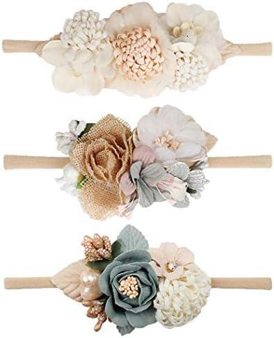 VOBOBE Baby Girl Nylon Headbands Infant Flower Elastic Hair Band Bows Wraps For Newborn Toddler product image