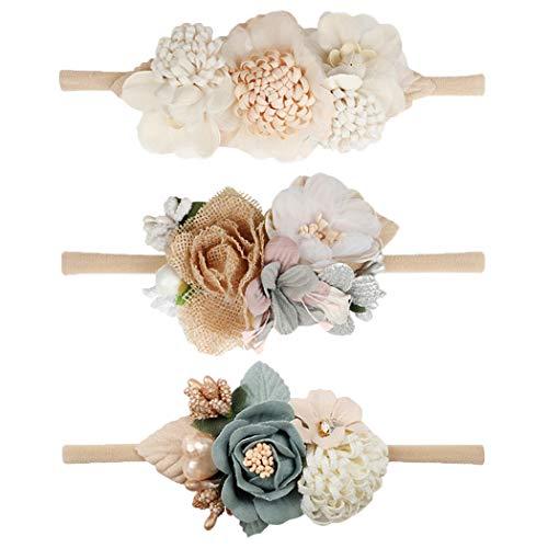 VOBOBE Baby Girl Nylon Headbands Infant Flower Elastic Hair Band Bows Wraps For Newborn Toddler Hair Accessories Pack of 3 (1)
