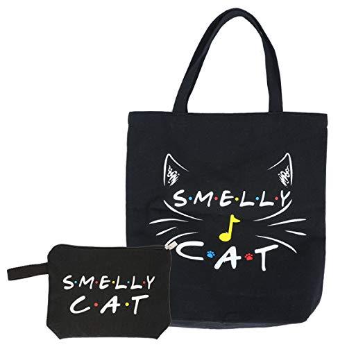 TUTBIER Bolsas de lona con diseño de gato y amigos de color negro para mujeres, hombres y amigos, bolsa de maquillaje de algodón suave con cremallera, funda grande de lino para amigos y fans regalos