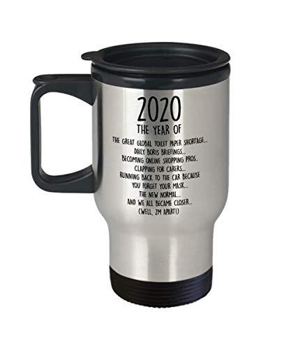 Remembering 2020 Travel Mug, Lockdown 2020 Gift, Self Isolation Quarantine Stay Home Boris Johnson Toilet Paper Shortage, Family Best Friend Gift, Coffee Mug, Two Tone, Travel, Camper Mug