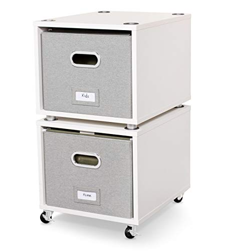 BirdRock Home Rolling File Cabinet with 2 Lateral Drawers – Decorative Storage Shelf, Blankets, Books, Files, Magazines, Toys – Removable Bin with Handles – Under Desk Office Living Room Home - White