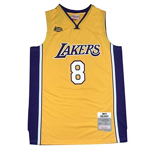 CLKI Camiseta de baloncesto Lakers #8 Kobe Bryant Finals Logo Baloncesto, chaleco deportivo transpirable y cómoda camiseta (S-2XL) amarillo-XL