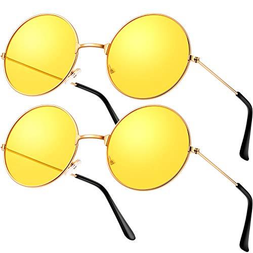 2 Paare Hippie Brille Sonnenbrille Retro Hippie Stil Sonnenbrille Hippie Verrücktes Kleid Kostüm Sonnenbrille Männer Frauen Brille (Gelbe Runde Form)