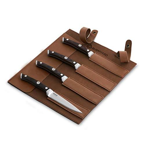 Burnhard Steakmesser-Set mit Pakka-Holzgriff 4-TLG. inkl. Klingenschutz aus Leder, Deutscher Klingenstahl, ergonomische Form