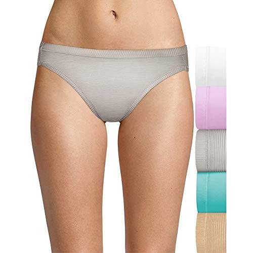 Hanes Ultimate Women's Luxurious Microfiber Bikini Panties, Lilac/Grey/Blue/Soft Taupe, 5 -  HXMFBK