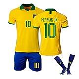 サッカーユニフォーム子供大人用 Neymar Jr 背番号10 ネイマール 19-20ブラジルホームとアウェイサッカージャージ 上下セットジャージとソックス 黄 白い サッカージャージ Tシャツ半ズボン サッカーウェア レプリカマッチ トレーニングチームスポーツウェア 通気性 ユニセックス (Color : Yellow, Size : S)