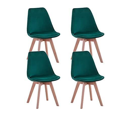 GrandCA Set di 4 sedie, sedia da pranzo, sedia in stile nordico, adatta per soggiorno, sala da pranzo (Verde velluto)