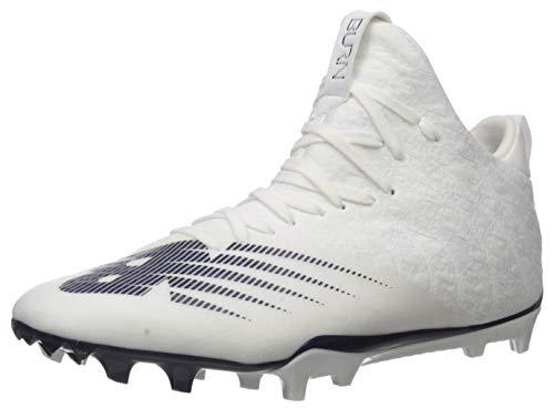 New Balance Men's Burn X2 Mid-Cut Lacrosse Shoe, White/Navy, 6 W US