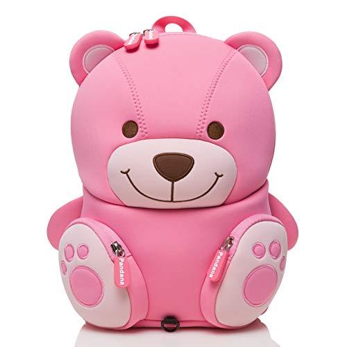 Pandana® Kinderrucksack Bella Bär mit Brustgurt für Mädchen im Kindergarten oder Kita ab 2 Jahren, aus isolierendem Neopren mit Anti-Lost-System