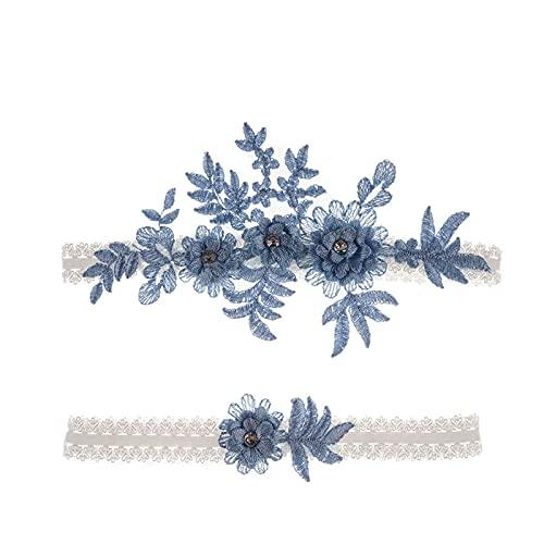 Mikqky 2 Piezas Liga de Boda Azul, Liga de Boda Azul para Novias, Liga de Encaje Azul de Boda, Adecuado para Damas de Honor y Decoraciones Festivas de Bodas para Damas