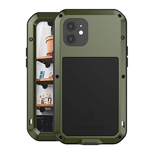 Love Mei Compatible for iPhone 12 Case, Aluminum Metal Gorilla Glass Waterproof Shockproof Military Heavy Duty Sturdy Protector Cover Hard Case for iPhone 12 (Green)