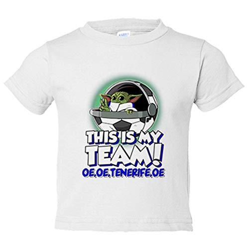 Camiseta niño parodia baby Yoda mi equipo de fútbol Tenerife - Blanco, 12-18 meses