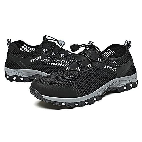 Zapatos de Senderismo de Verano,Zapatos de Hombre de Talla Grande para Arriba,Zapatos de Bicicleta de Montaña para Deportes al Aire Libre,Zapatos de Malla,Black-43