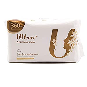 UUCARE 48-50 Count Ultra Thin Pads with Wings, Super Absorbency Sanitary Napkins with Cool Factor, Unscented