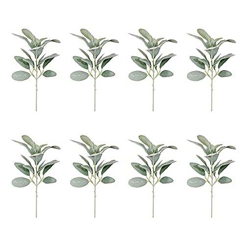 FXforer 8Pcs Artificial Flocked Rabbit Ear Leaf,Simulation Lamb Ear Leaves Fake Greenery Stems Bouquet Floral Arrangement Leaf-Hanging Frost White for Home Party Farmhouse Everyday Decor,Green