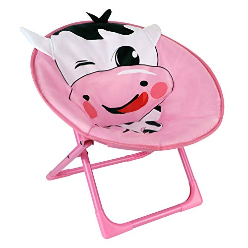 Saucer Chair for Kids Folding Padded Moon Round Chair Portable Outdoor Back-Rest Leisure Chair Cute Cartoon Animal Camping Hiking Chair Soft Cozy Indoor Papasan Dining Chair for Lounging Dorm Room