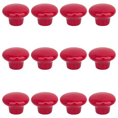 Creatwls- 12pcs Redondo Cerámica Color Sólido Tire De Asas Para Muebles De Cocina Cajones Pomos Para Puerta (Rojo)