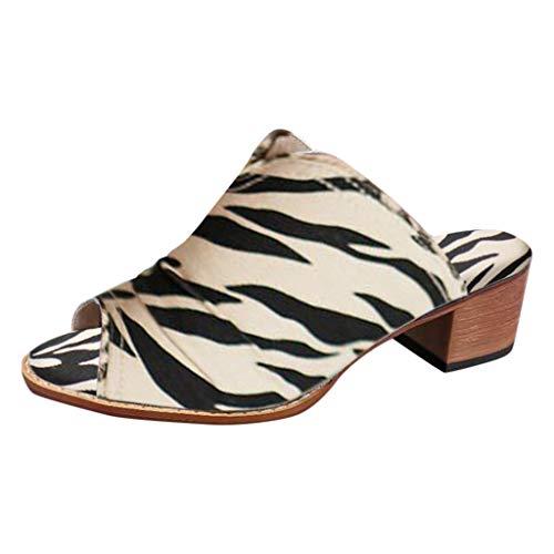 LuckyGirls Mujer Señoras Casual Elegante Vintage Leopardo Zapatos de tacón Alto Sandalias