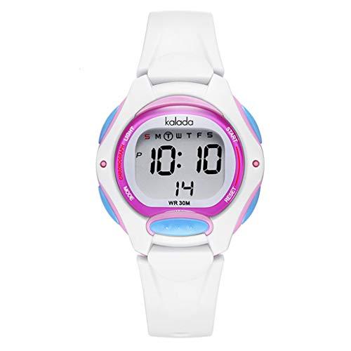 Lvmiao Reloj electrónico de Reloj de Alarma Digital, niños niños Deportes Anti-caída, Hombres y Mujeres Junior Luminoso Hombres y Mujeres Reloj de Estudiante Impermeable,4