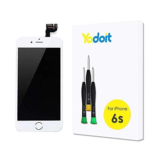 Yodoit para Pantalla iPhone 6s Completa Blanco Conjunto de LCD y digitalizador Reemplazo de la Pantalla táctil de Vidrio con Marco Repuestos (Botón Home, cámara Frontal) Herramienta (4,7 Pulgadas)