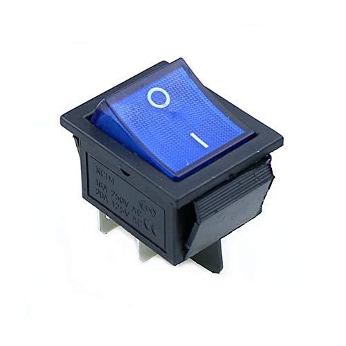 Interruptor basculante Interruptor KCD4 Rocker ON-OFF 2 Posición equipo de 6 patillas eléctricas con la fuente de luz Interruptor tapa 16A 250VAC / 20A 125V 4 Pins / ( Color : Blue , Size : 4 Pin )