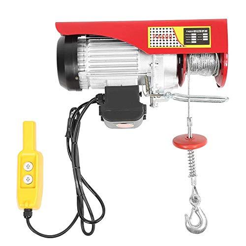 Polipasto eléctrico Polipasto de Cable, Cabrestante Eléctrico de 300 kg Hasta 600 kg, Altura de Elevación de 12 m con Gancho de Carga, Interruptor de Emergencia