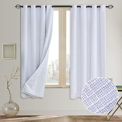 Rose Home Fashion Primitive Linen Look,100% Blackout Curtain(with Liner),White Linen Curtains,White Blackout Curtains& Blackout Thermal Insulated Liner,Burlap Curtains-Set of 2 Panels(50x63 White) p2