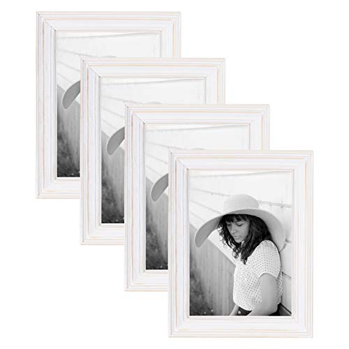 Kate and Laurel Bordeaux Wood Photo Frame 4 Piece Set - 5x7 Size for Customizable Wall or Desktop Display, Whitewash Finish